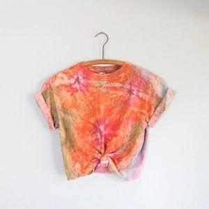 Tie Dye orange cotton tee